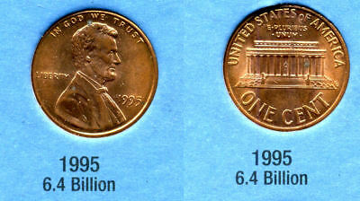 1995 P ABE Lincoln Memorial AMERICAN PENNY 1 CENT US U.S AMERICA ONE COIN #B1