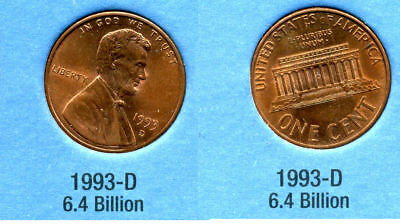 1993 D ABE Lincoln Memorial AMERICAN PENNY 1 CENT US U.S AMERICA ONE COIN #B1