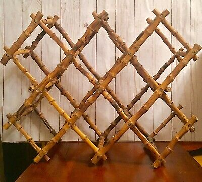 VINTAGE Farmhouse Collapsible Expandable OAK WOODEN Folding Accordion WINE RACK