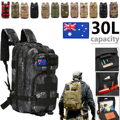 30L Outdoor Military Rucksacks Tactical Backpack Camouflage Hiking Camping Bag