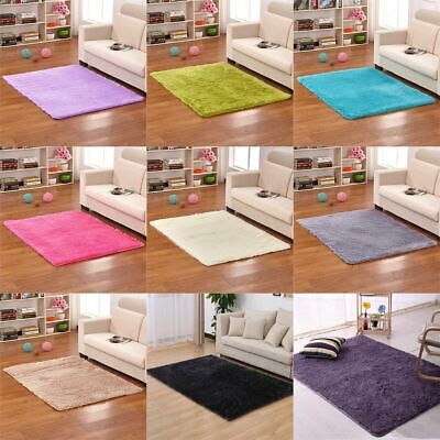 Soft Plain Shaggy Mats Machine Washable Non Slip Luxury Large Small Bedroom Rugs