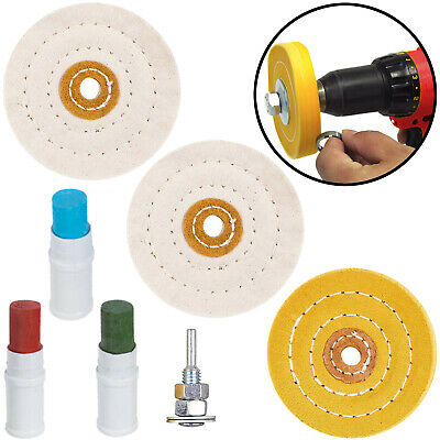 Metal Cleaning Polishing Buffing Wheel & Compound Polish Kit for Drill 7 Pce Set