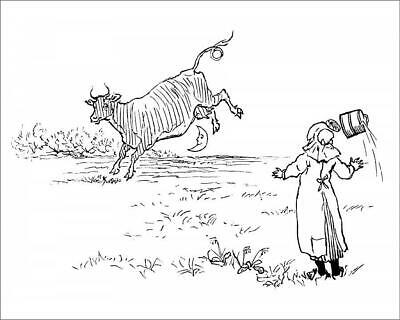 """19004605 10""""x8"""" (25x20cm) Print of The cow jumped over the moon"""