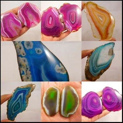 Natural Dyed Pair Of Botswana Agate Slice Mineral Specimen D323-359