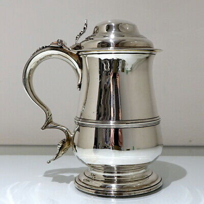 18th Century Antique George III Sterling Silver Tankard & Cover London 1765