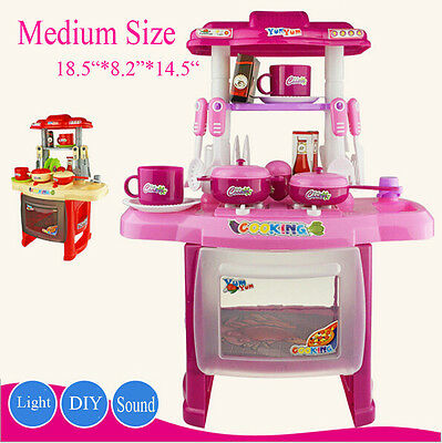 Portable Electronic Children Kids Kitchen Cooking Girl Toy Cooker Play Set uk