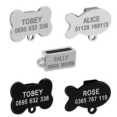 "Personalised Dog Cat Slide-on ID Tags Engraved for 3/8"" Collars Fish/Bone/Square"