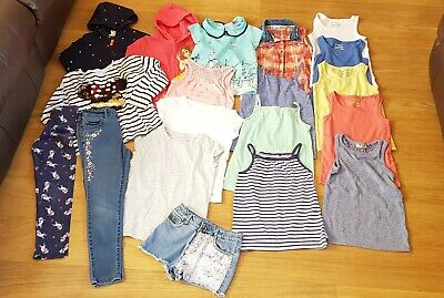 Bundle of girls clothes 6 7 8 yr tops jackets jeans shorts leggings Next H&M F&F