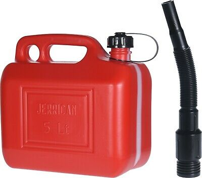 5 Litre Red Plastic Fuel Jerry Can with Spout Petrol Diesel Water Storage Can