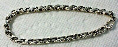 Beautiful Old English Antique Chased Sterling Silver Etched Chain Link Bracelet