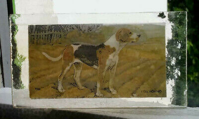 Stained Glass Fox Hound hunting dog - Kiln fired fragment  pane!