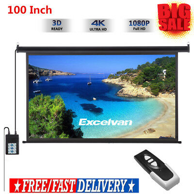 Excelvan 100 Inch 16:9 Electric Motorized Projector Screen Home Cinema Theater