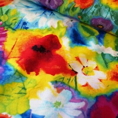 SALE 100% Cotton Fabric Timeless Treasures Bright Colourful Water Colour Floral