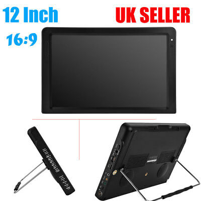 "12"" Portable HD LCD Digital TV Player 1080P Widescreen Television AV/USB/TF/HDMI"