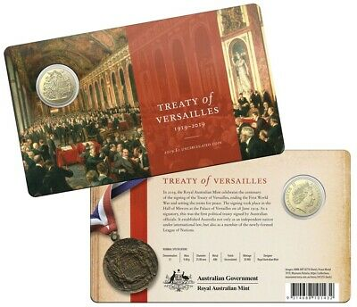 Australia: 2019 $1 Centenary of the Treaty of Versailles in Mint Card