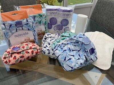 Bambino Mio Solo Reusable Nappies x6, Boosters X5 and Approx 400 Liners