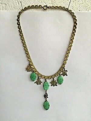 Vintage molded Peking jade green glass & Chinese  character Necklace happiness