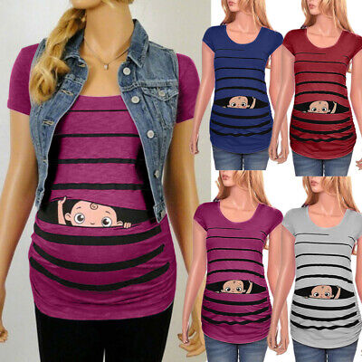 UK Maternity Cute Funny Baby Striped Short Sleeve T-shirt Pregnant Tops S-XXXL