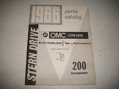1966 Omc Evinrude / Johnson  Stern Drive Parts Catalog 200 Hp. Illustrated