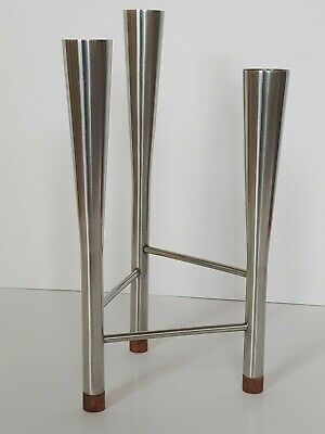 Robert Welch  Old Hall Triple Candle Holder Teak Stainless Mid Century Modernist
