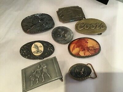 Collection Of Vintage Mens Belt Buckles Brass, Pewter Ect No Reserve Wow