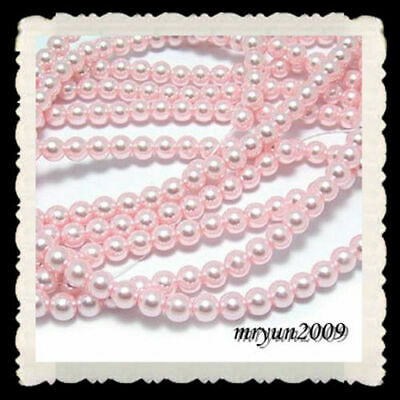 Beads shell Acrylic Spacer FREE Imitation pink pearl round Plastic 6mm 200pcs