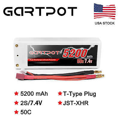 GARTPOT 2S 5200mAh 50C 7.4V LiPo Battery Hardcase Deans Plug for RC Car Truck
