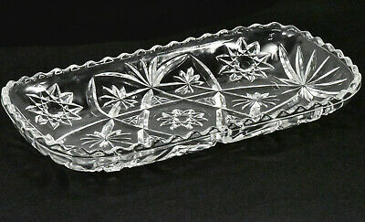 Vintage Heavy Glass Crystal Clear Serving Tray Bowl 12 Inches - Beautiful !