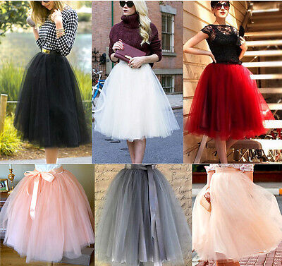 Womens Girls 7 Layers Tutu Tulle A line Skirts Short Prom Party Petticoat Dress