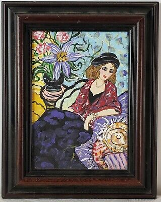 "Vintage Oil Painting on Board Portrait of Woman Framed Art Decor (10"" x 8"")"