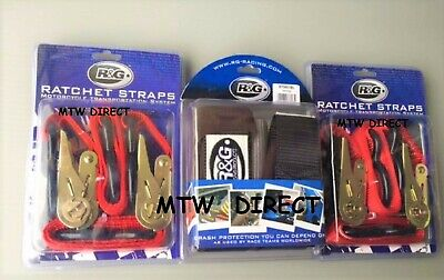 R&G Motorcycle Handlebar Tie Down Top Straps & 2 Pairs 25mm Red Ratchet Straps