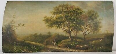 "Old Oil Painting on Wood Landscape with Trail Unframed Art Decor (8"" x 16"")"