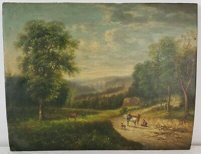 "Old Oil Painting on Wood Landscape with Trail Unframed Art Decor (11"" x 14"")"