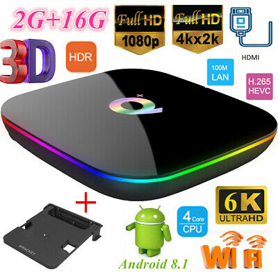 Lot Q Plus TV Box WiFi H6 2G+16G H.265 Quad Core 6K Player Android 8.1 + Bracket