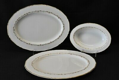 Royal Worcester Gold Chantilly Pair Of Oval Serving Platters & A Vegetable Bowl