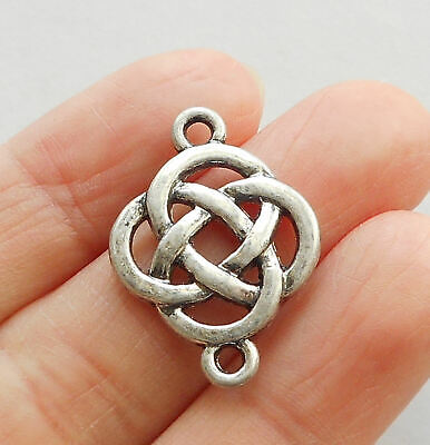 "4pcs-2 loop silver tone Celtic Knot connector,1"" bohemian earring connector"