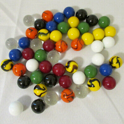 Estate Find Set 54 1-Inch Shooter Marbles 6 Each 9 Different Colors Solid/Swirl