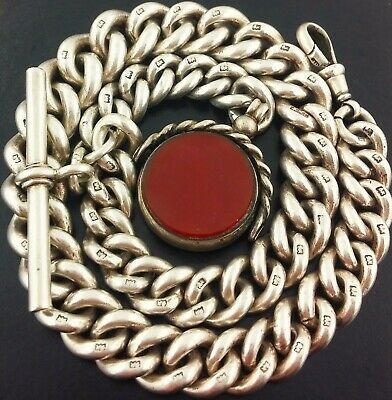 1894 Large Heavy Antique Solid Silver Albert Pocket Watch Chain W Swivel Fob 91G