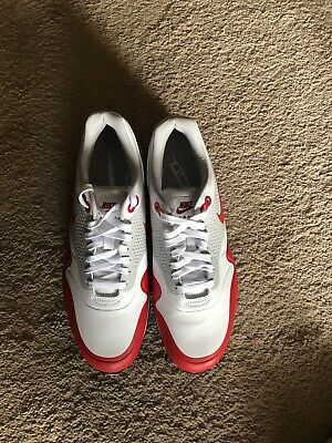 timeless design 257c8 ed113 Nike Air Max 1 G Golf Shoes White University Red Men s Size 10