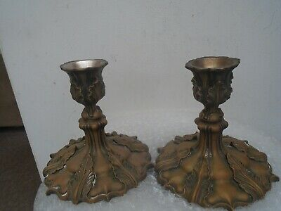 pair of stylish 19th century Elkington silver plate candlesticks  AMAZING PATINA
