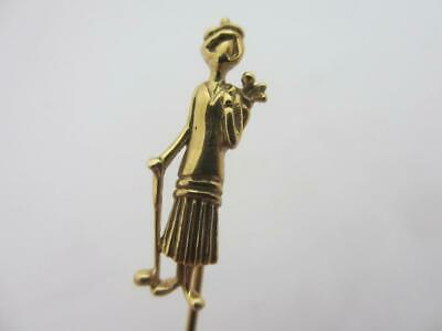 Rare Lady Golfer 9k Gold Stick Pin Brooch Vintage Art Deco English. tbj07451