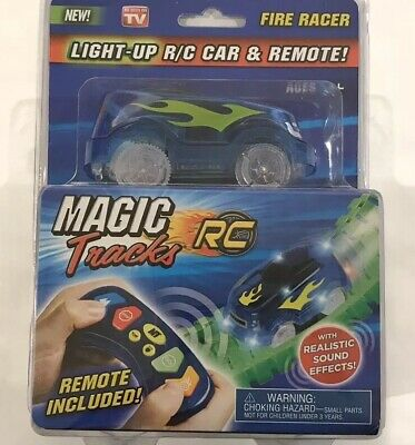 MAGIC TRACKS LIGHT-UP R/C Car & Remote: Green Racer Car USED