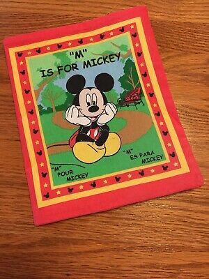 Disney M Is For Mickey Mouse Fabric English/Spanish/French Baby Cloth Book
