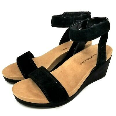 9442e9775aa LUCKY BRAND KANOA Wedge Sandals Black Leather Shoes Womens 6 M NEW