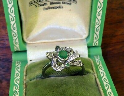 Vintage palladium ART DECO ANTIQUE 1920s COLOMBIAN EMERALD DIAMOND COCKTAIL ring