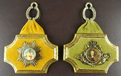 Pair Vintage Gold Gilt Chalk Wall Hangings Cameo Hollywood Regency