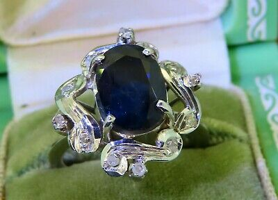 Vintage palladium ART DECO ANTIQUE 1920's OVAL SAPPHIRE DIAMOND COCKTAIL ring