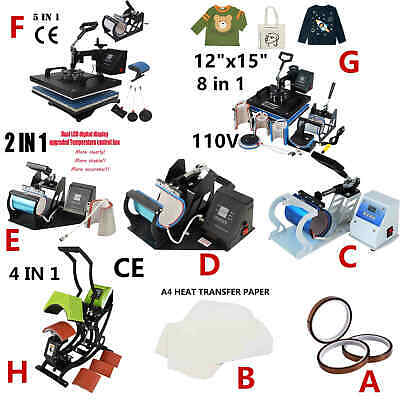 Digital Display Heat Press Transfer Sublimation Machine for Cup Hat Mug 8/4in1