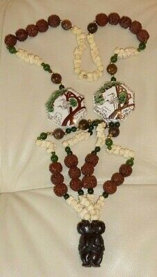 Exquisite Vintage Chinese Carved Nut With Jade, Tiger Eye & Gold Beads Necklace