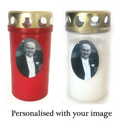 Memorial Photo Candle, Personalised Grave Tribute Candles White Gold 2 Day Burn